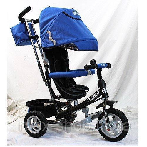 Детский трехколесный велосипед Turbotrike Синий (M 3452-3FA) с сумочкой