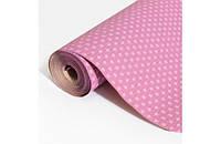 Крафт-бумага Гофре (в гармошку) подарочная Горох на розовом фоне 10 м/рулон