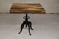 Стол квадратный IRON BASE TABLE LOFT в стиле Лофт. Ценная порода дерева. Ручная работа. Сделано в Индии.