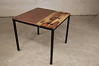 Стол квадратный IRON BASE TABLE COPPER, SILVER в стиле Лофт. Ценная порода дерева. Ручная работа.