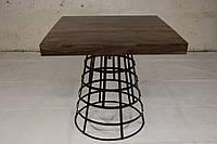 Стол квадратный IRON BASE TABLE CHOCOLATE в стиле Лофт. Ценная порода дерева. Ручная работа. Сделано в Индии.
