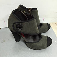 Туфли женские Les Lolitas серо-черные закрытые на каблуке