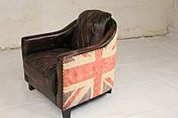 Кожаное кресло WOODEN CANVAS-LEATHER FTD. SOFA. Натуральная кожа и ценная порода дерева. Ручная работа.