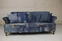 Диван джинсовый 3 местный WOODEN DENIM FTD. 3 SEATER SOFA. Джинсы с карманами и ценная порода дерева.