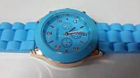 Часы кварцевые на силиконовом ремешке Geneva Голубой Голубой