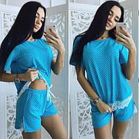 """Милый женский комплект-пижама в горошек """"Seems"""" с кружевом (3 цвета)"""