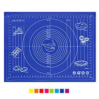 Силиконовый коврик для выпечки, для раскатки теста с разметкой 60х42 см.