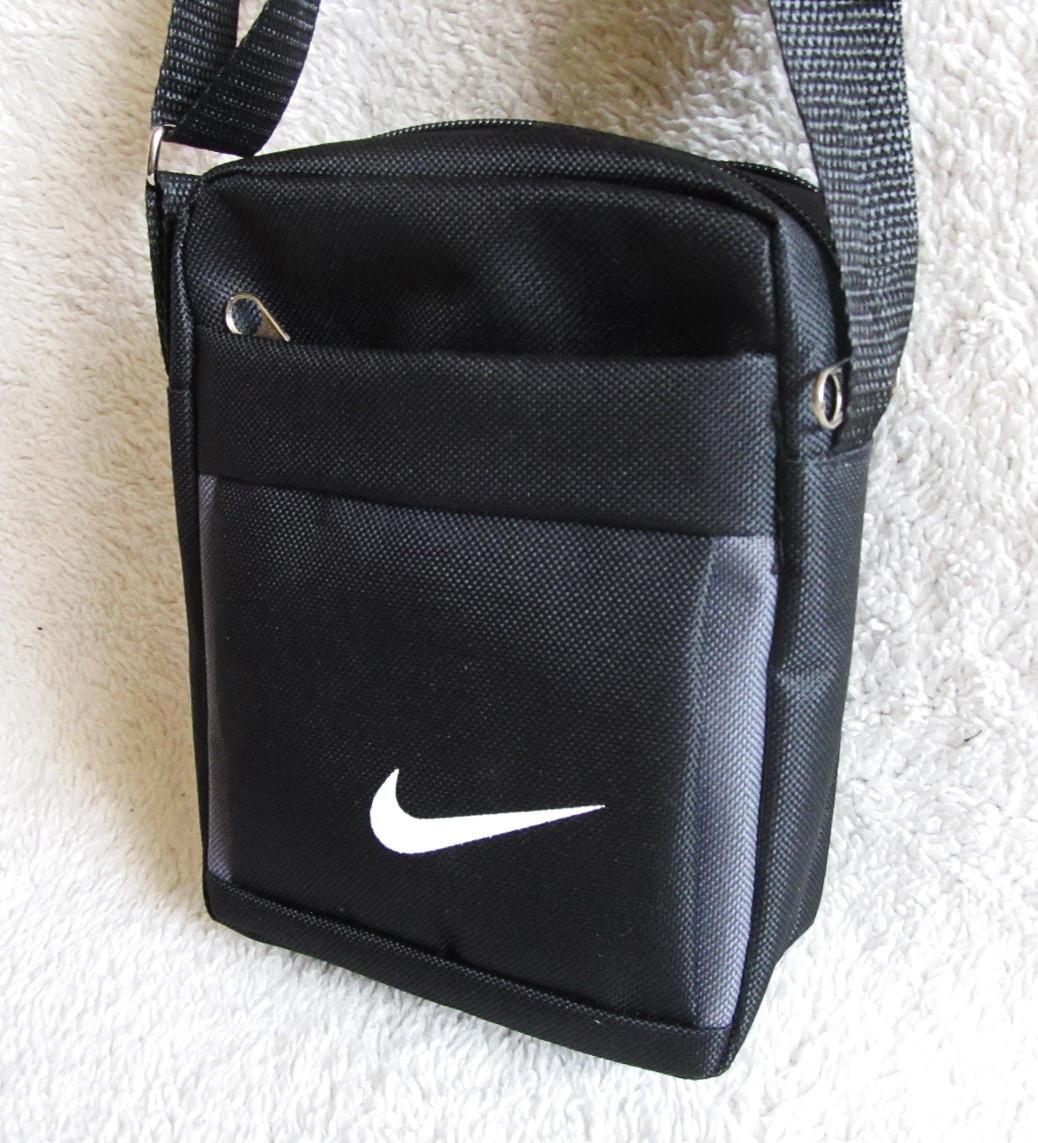 cc48c54cee3f Сумка через плечо спортивная мужская женская барсетка черная с серым  16х13х6см - Интернет-магазин