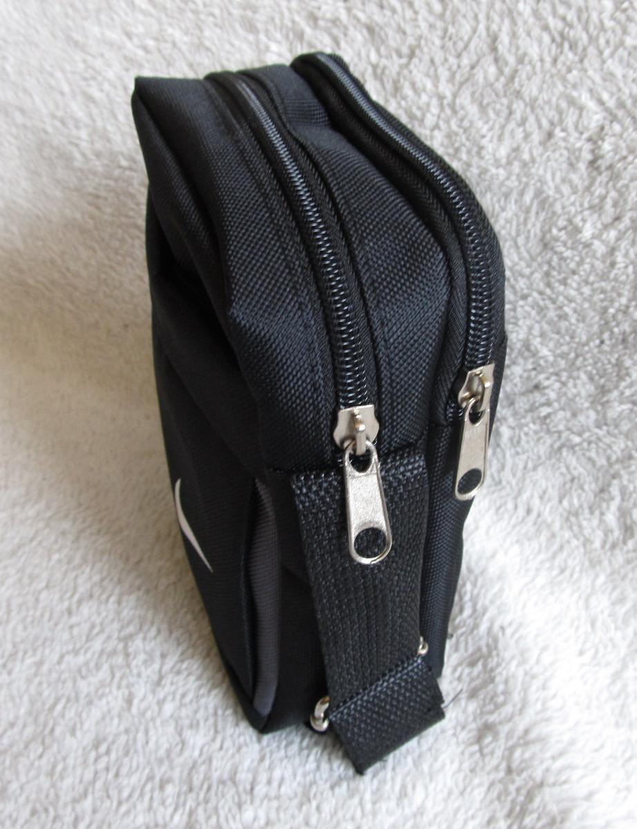 a0699940f084 ... Сумка через плечо спортивная мужская женская барсетка черная с серым  16х13х6см, ...