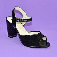 Женские босоножки на высоком каблуке, натуральная замша и лаковая кожа