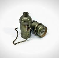 Ретро патрон для лампы Эдисона Е27 (с выключателем-цепочкой)