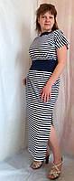 Платье женское из тонкого летнего трикотажа  полоска