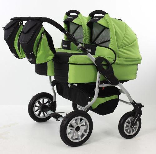Коляска 2 в 1 для двойни Tako Jumper Duo STTF 01 зеленый-черный