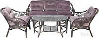 Комплект мягкой садовой мебели из натурального ротанга  (2 кресла, диван  + стол прямоугольный)