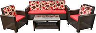 Комплект мягкой садовой мебели из искусственного  ротанга  (2 кресла,  диван  + стол прямоугольный)