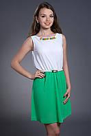 Шифоновое платье комбинированное с поясом