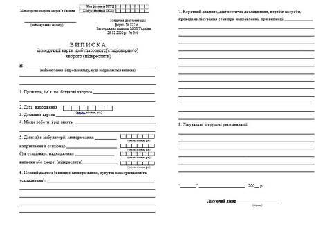 Виписка із медичної карти амбулаторного, (стаціонарного) хворого027/o