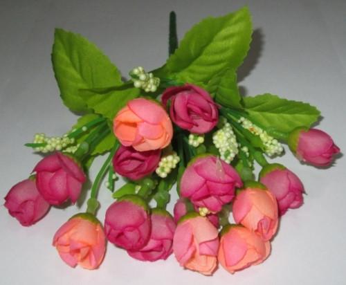 Розочки в букете 22 см, малиново - персиковые