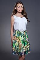 Шифоновое платье с цветочным принтом, с поясом