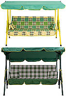 Садовые качели 3-хместные с подушками и козырьком