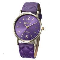 Женские часы Geneva с перламутровым циферблатом на ремешке из экокожи фиолетовые