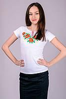 Белая футболка женская с вышивкой летняя с коротким рукавом трикотажная хб (Украина)