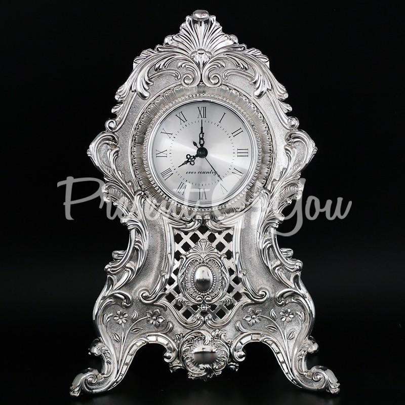 Интерьерные часы, настольние, посеребрение«Возрождение эпохи», 35x25x14 см