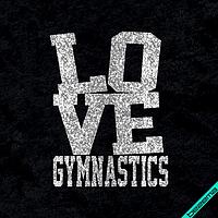 Аппликация, наклейка на ткань  Love gymnastics [7 размеров в ассортименте] (Тип материала Глиттер) 3.9, Глиттер, 3