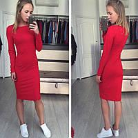 Женское платье до колен с длинными рукавами