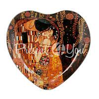 Стеклянная тарелка Г.Климт  «Поцелуй» Carmani, 19х18 см
