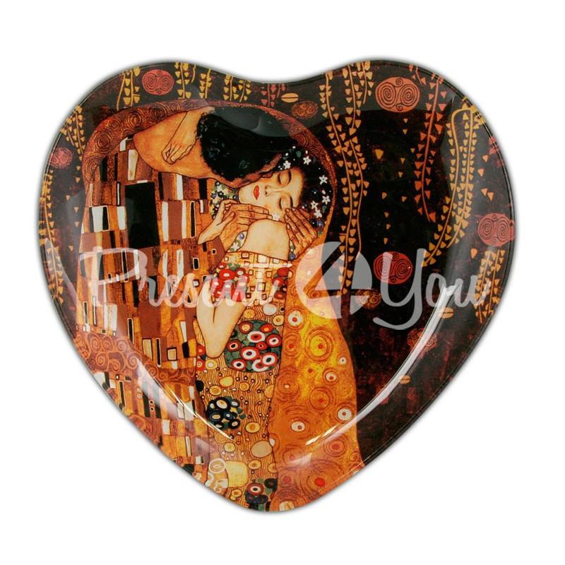 Стеклянная тарелка Г.Климт  «Поцелуй» Carmani, 19х18 см - Интернет-магазин подарков Present4you в Львовской области