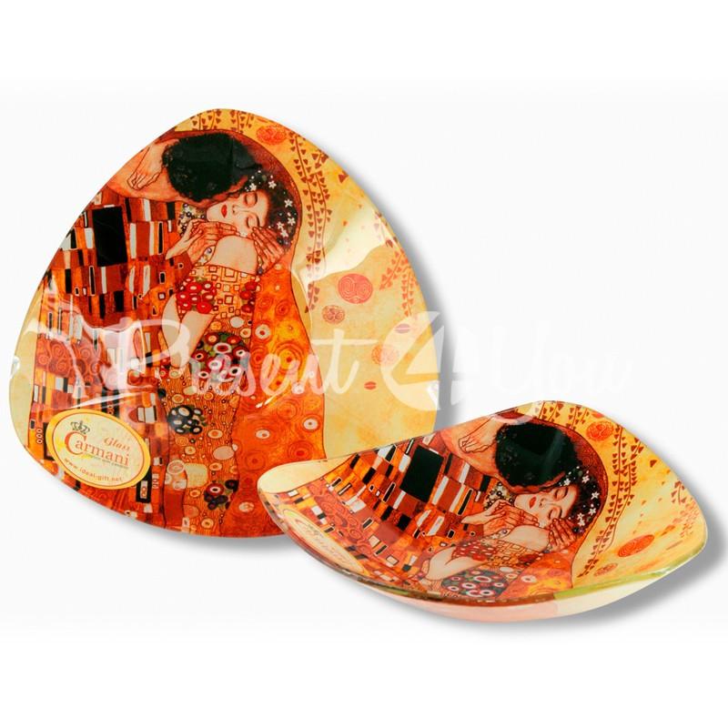 Стеклянная тарелка Г.Климт «Поцелуй» Carmani, 17х17 см