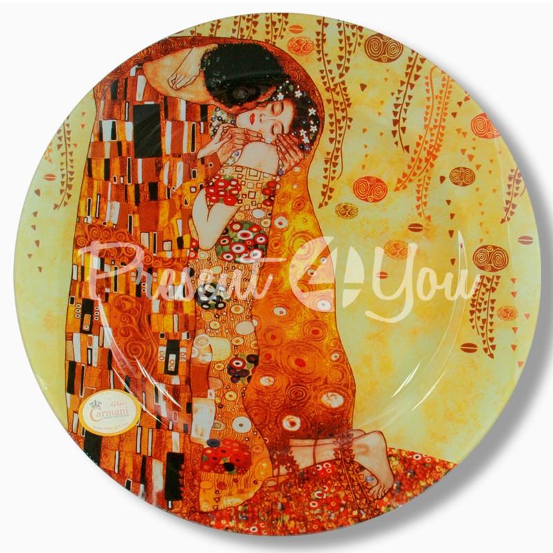 Стеклянная тарелка Г.Климт «Поцелуй» Carmani, d-40 см