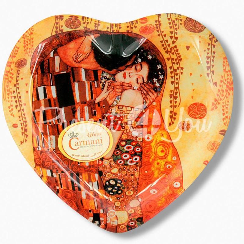 Стеклянная тарелка Г.Климт «Поцелуй» Carmani, 25х23 см
