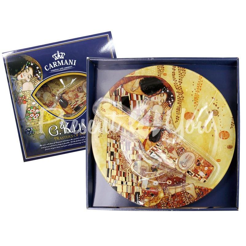 Стеклянная тарелка для торта с лопаткой Г.Климт «Поцелуй» Carmani, d-30 см
