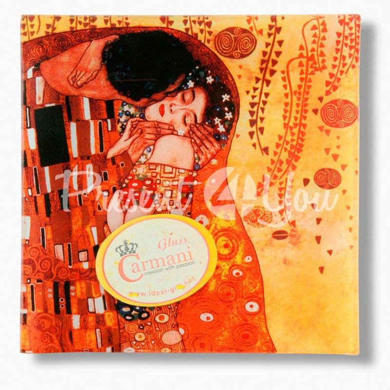 Стеклянная тарелка Г.Климт «Поцелуй» Carmani, 13х13 см