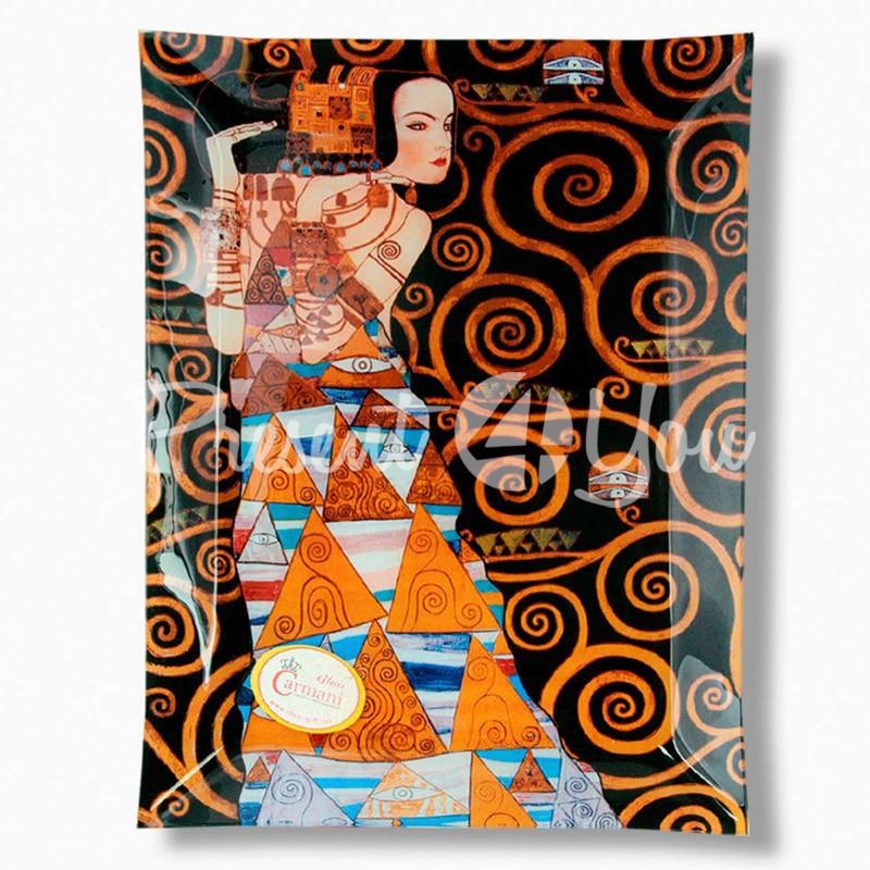 Стеклянная тарелка Г.Климт «Ожидание» Carmani, 32х24 см