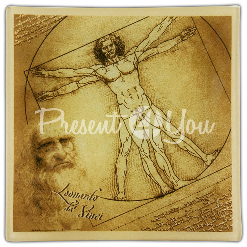 Стеклянная тарелка Леонардо да Винчи «Витрувианский человек» Carmani, 30х30 см