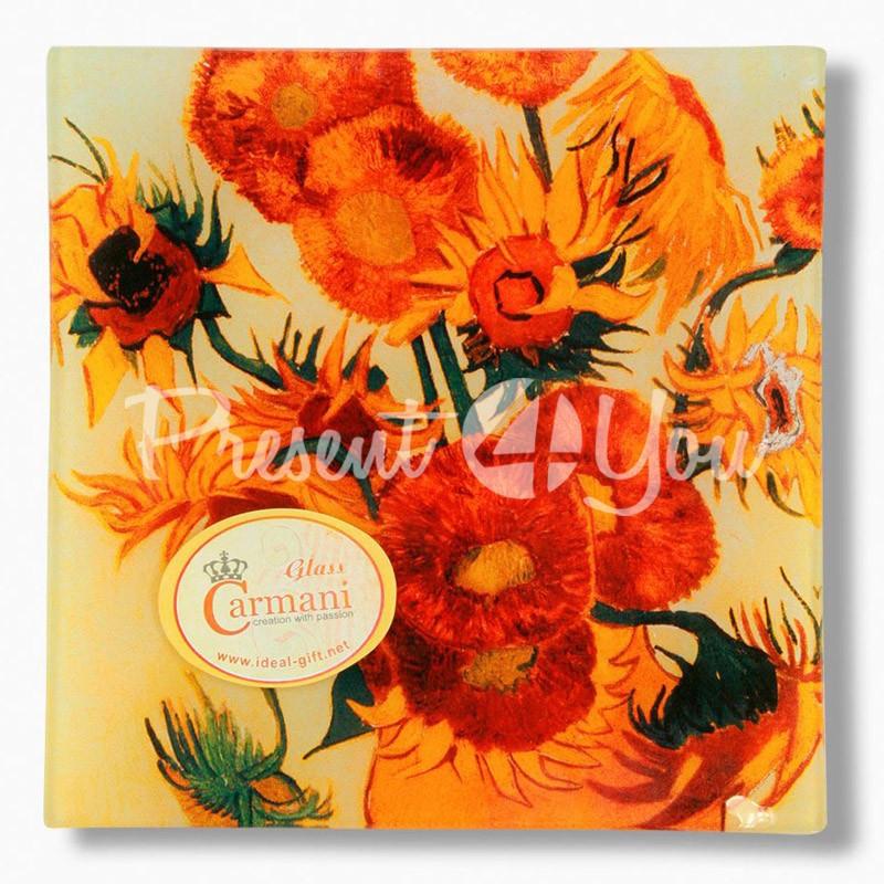 Стеклянная тарелка Ван Гог «Подсолнухи» Carmani, 15х15 см