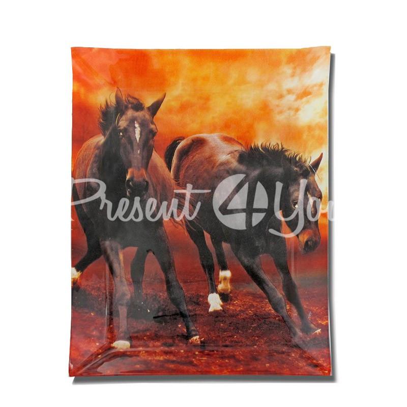 Стеклянная тарелка «Лошади» Carmani, 20х28 см