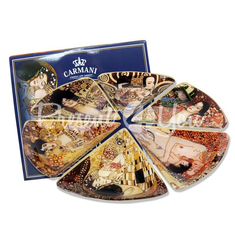 Набор стеклянных тарелок Г.Климт Carmani (6 шт.), 35х35 см