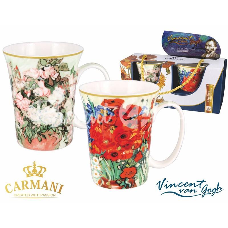 Набор 2 кружки Ван Гог «Натюрморт. Ваза с ромашками и маками» и «Натюрморт. Ваза с розами» Carmani , 375 мл
