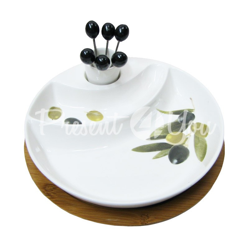 Набор для сыра: деревянная доска, шпажки 6 шт., фарфоровая тарелка