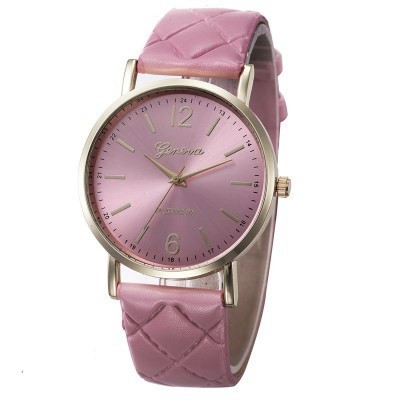 Женские часы Geneva с перламутровым циферблатом на ремешке из экокожи розовые