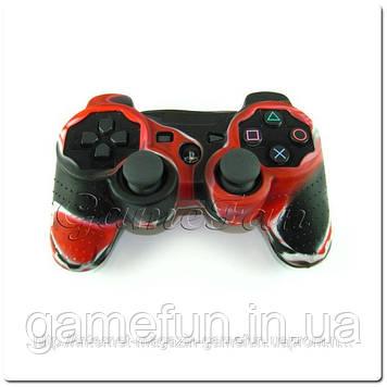 Силиконовый чехол для джойстика PS3 (Камуфляж)(Red-black)