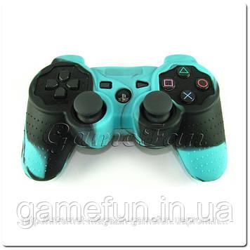 Силиконовый чехол для джойстика PS3 (Камуфляж)(Blue-black)