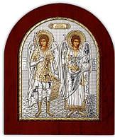 Икона серебряная с позолотой Архангелы Михаил и Гавриил на деревянной основе Silver Axion (Греция)
