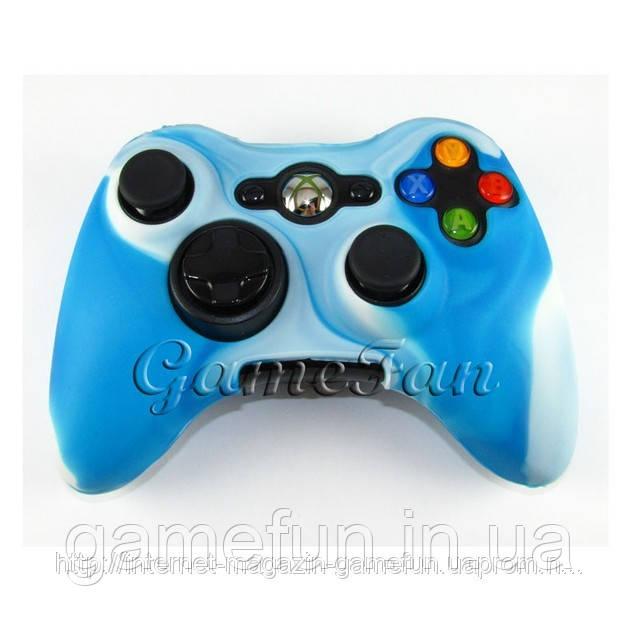 Силиконовый чехол для джойстика Xbox 360 (камуфляж)(Blue-white)