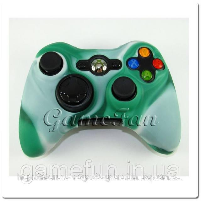 Силиконовый чехол для джойстика Xbox 360 (камуфляж)(Green-white)