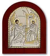 Греческая Икона Silver Axion Благовещение серебряная с позолотой на деревянной основе Silver Axion 55 х 70 мм
